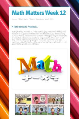 Math Matters Week 12