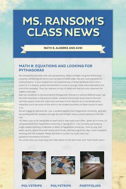 Ms. Ransom's Class News