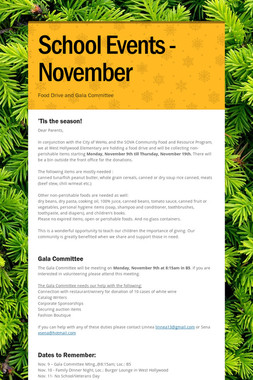 School Events - November