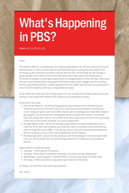 What's Happening in PBS?