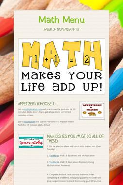 Math Menu