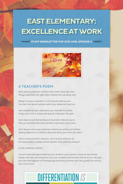 East Elementary: Excellence at Work