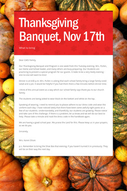Thanksgiving Banquet, Nov 17th