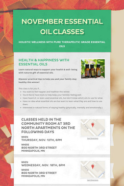 November Essential Oil Classes