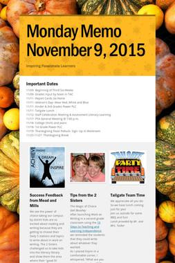 Monday Memo November 9, 2015