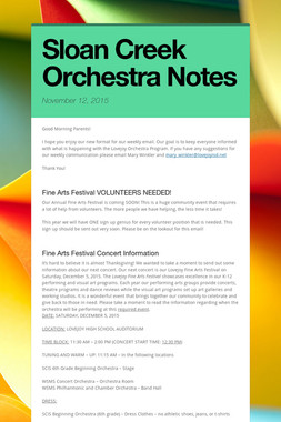 Sloan Creek Orchestra Notes