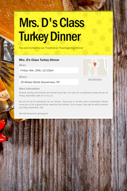 Mrs. D's Class Turkey Dinner