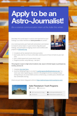 Apply to be an Astro-Journalist!