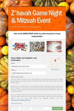 Z'havah Game Night & Mitzvah Event