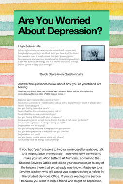 Are You Worried About Depression?
