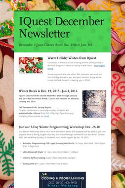 IQuest December Newsletter