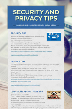 Security and Privacy Tips