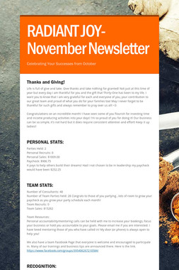 RADIANT JOY-November Newsletter