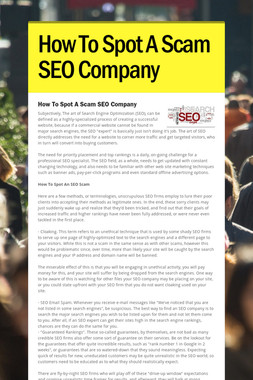 How To Spot A Scam SEO Company