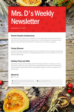 Mrs. D's Weekly Newsletter