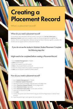 Creating a Placement Record