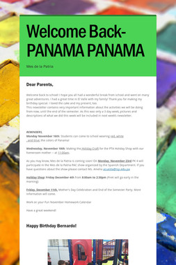 Welcome Back-PANAMA PANAMA
