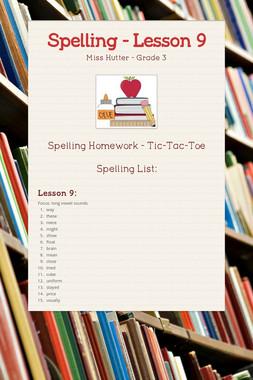 Spelling - Lesson 9