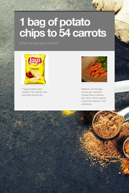 1 bag of potato chips to 54 carrots