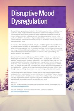 Disruptive Mood Dysregulation