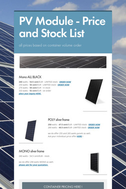 PV Module - Price and Stock List