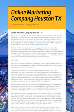 Online Marketing Company Houston TX
