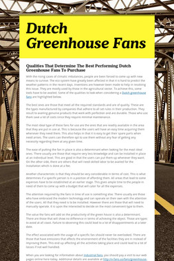 Dutch Greenhouse Fans
