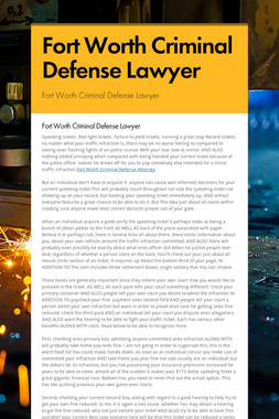 Fort Worth Criminal Defense Lawyer