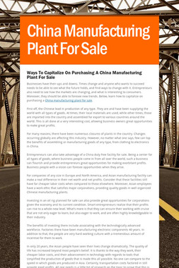China Manufacturing Plant For Sale