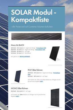 SOLAR Modul - Kompaktliste