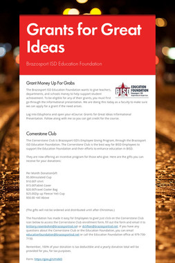 Grants for Great Ideas