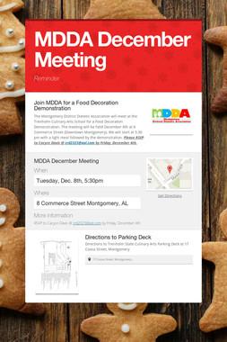 MDDA December Meeting