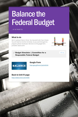 Balance the Federal Budget
