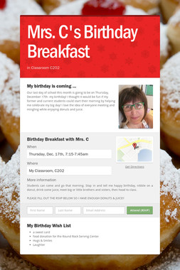 Mrs. C's Birthday Breakfast