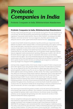 Probiotic Companies in India