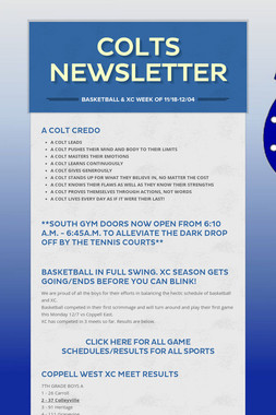 Colts Newsletter
