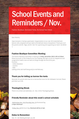 School Events and Reminders / Nov.