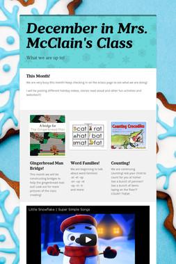 December in Mrs. McClain's Class