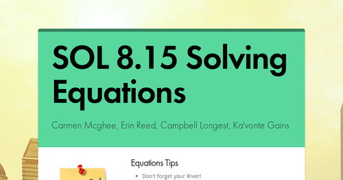 SOL 8.15 Solving Equations | Smore Newsletters