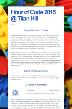 Hour of Code 2015 @ Titan Hill
