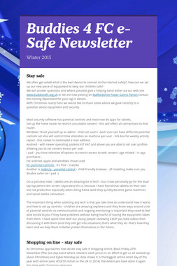 Buddies 4 FC e-Safe Newsletter