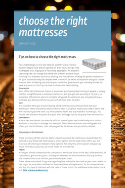 choose the right mattresses