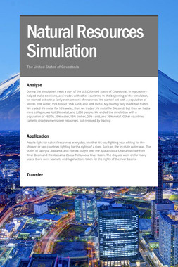 Natural Resources Simulation