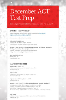 December ACT Test Prep