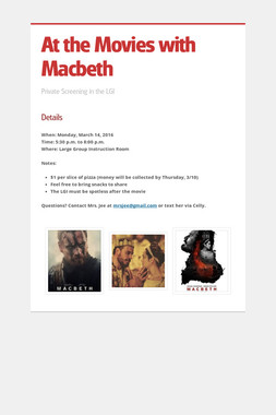At the Movies with Macbeth