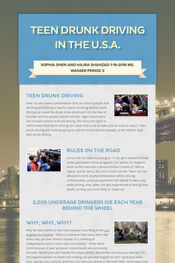 Teen Drunk Driving in the U.S.A.
