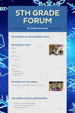 5th Grade Forum