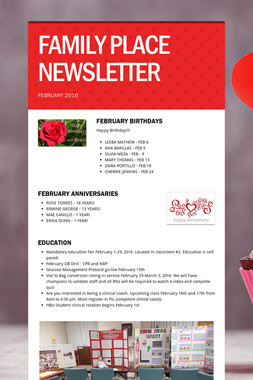 FAMILY PLACE NEWSLETTER