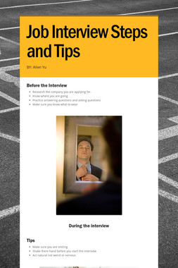 Job Interview Steps and Tips