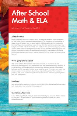 After School Math & ELA